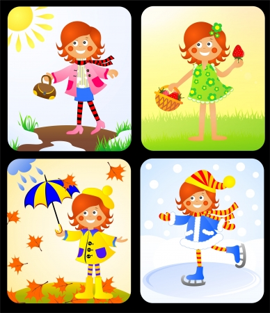 Girl at different times years Stock Photo
