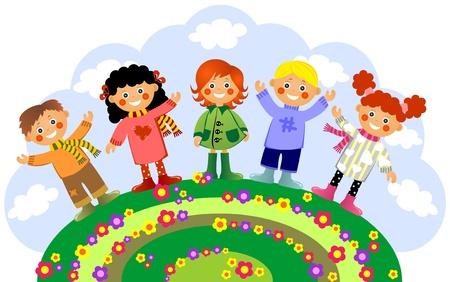 rejoice: Children rejoice to spring on a glade
