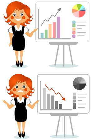 recourse: The businesswoman shows the schedule on a board Stock Photo