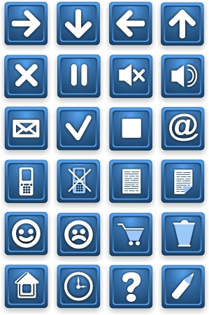 Set of icons  Square pictograms of blue color  photo