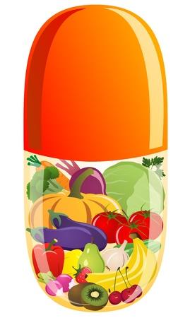 capsula: Las verduras y frutas en una tableta de vitamina