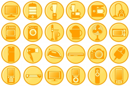 Household appliances  Pictograms the round orange  photo