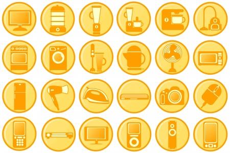 double boiler: Household appliances  Pictograms the round orange