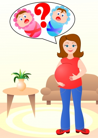 The pregnant woman thinks who at it will be born