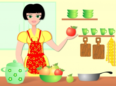 harmonous: The woman cooks in kitchen