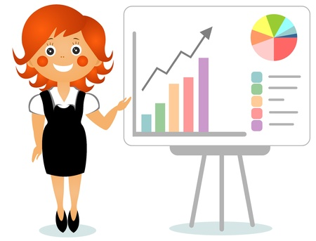 evident: The businesswoman shows the growth schedule on a board Stock Photo