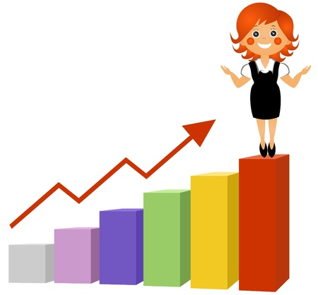 The businesswoman at top of the schedule of growth