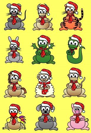 Dieren - symbolen van de Chinese horoscoop in caps Nieuwjaar s Stockfoto