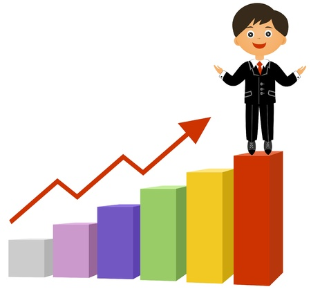 evident: The businessman at top of the schedule of growth