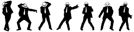 Silhouette of the man in a hat, dancing in style Michael Jackson