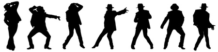 Silhouette of the man, dancing in style Michael Jackson