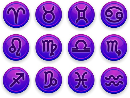 capricornus: Set of icons  Zodiac signs of lilac color