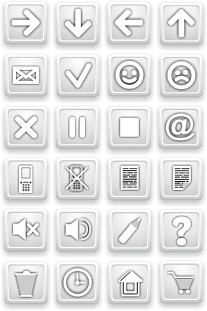 Set of icons  Square pictograms of white color photo