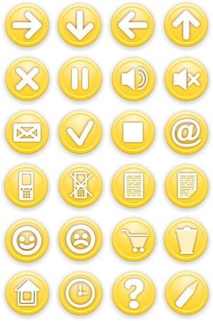 Set of icons  Pictograms of yellow color  photo