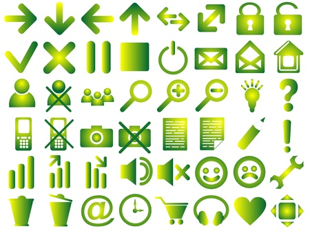 Set of pictograms of green color photo