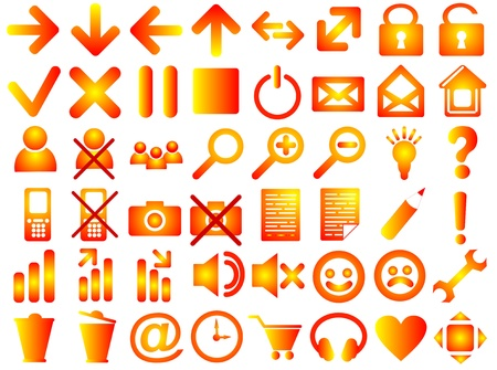 Set of pictograms of red color photo