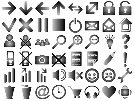 Set of pictograms of gray color photo