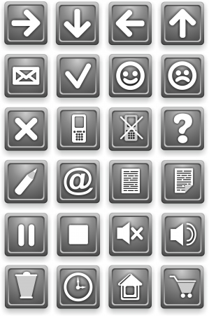 Set of icons  Square pictograms of gray color photo