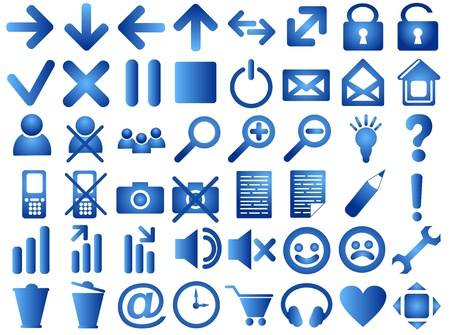 Set of pictograms of blue color photo