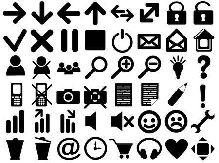 Set of pictograms of black color photo