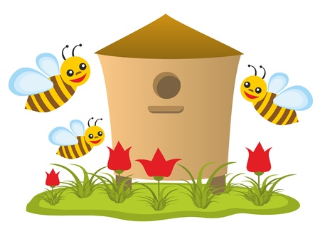 Beehive with bees photo