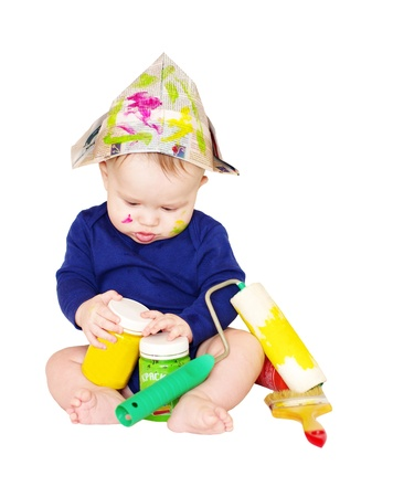 remount: The baby painter with paints age of 6 months on white background  Stock Photo