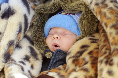 Portrait of the sleeping warmly dressed newborn