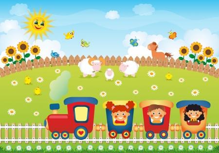 Children riding train on the village