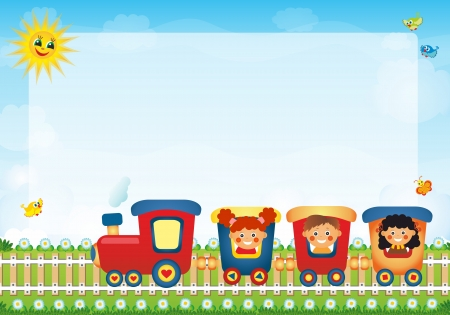 Children riding train with place for text  Stock Photo