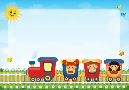 place for children: Los ni�os que viajan en tren con el lugar de texto