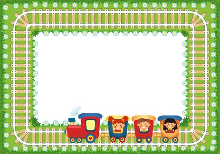 Frame with children riding train, place for text photo
