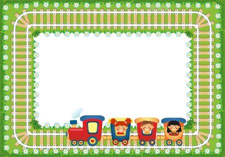place for children: Marco con ni�os que montan tren, el lugar de texto