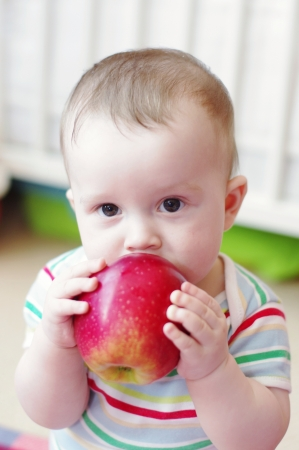 baby age of 7 months eats apple