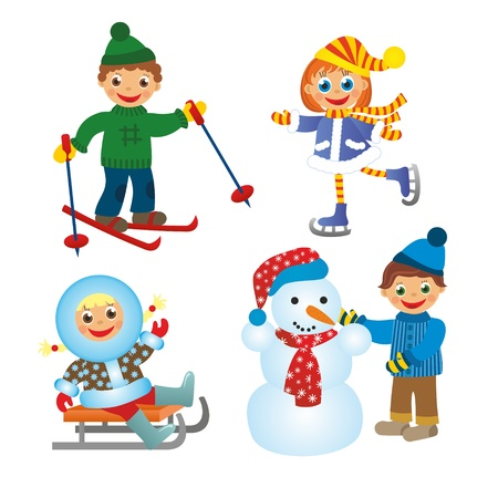 childrens fun in winter on white background Stock Photo