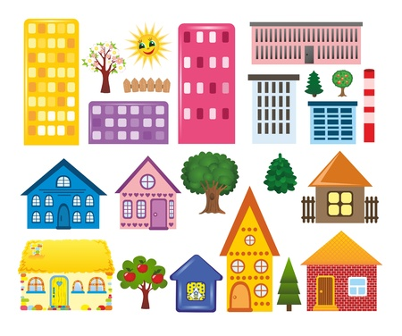 towerblock: collections of different houses Stock Photo
