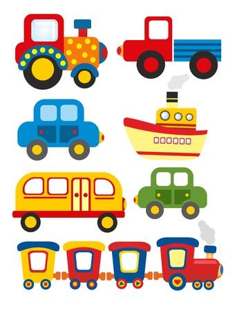 motorbus: conjunto de dibujos animados de transporte Foto de archivo