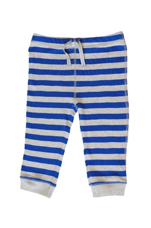 baby striped trousers on white background Stock Photo