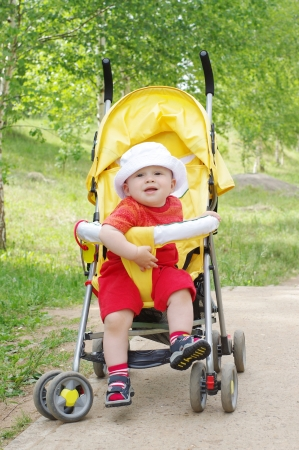 baby age of 9 months on baby carriage Stock Photo