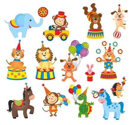 dieren: set van dieren in het circus