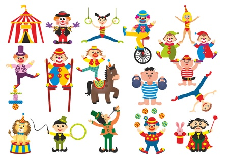 set of professions in circus photo
