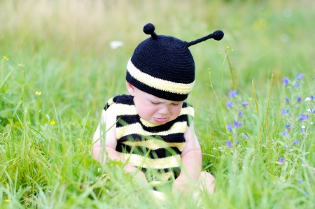 grieved: upset baby in bee costume on the meadow