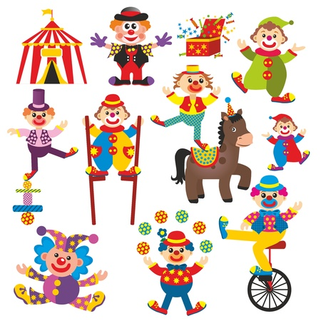 set of clowns in circus photo