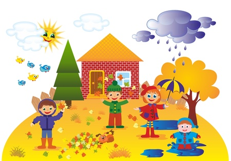 Children playing outdoors in autumn Stock Photo