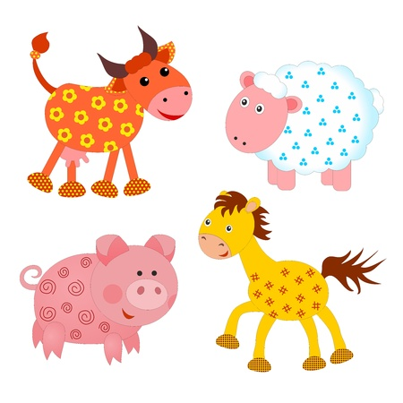 set of farm animals on white background photo