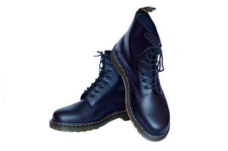 new mens leather black boots on white background