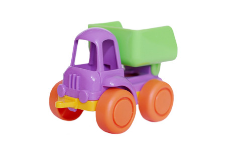 Plastik: plastik baby truck on white background Stock Photo