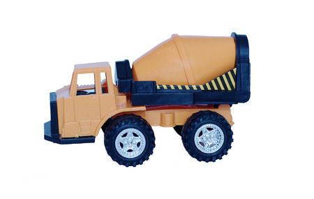 baby plastic cement-mixer on white background photo