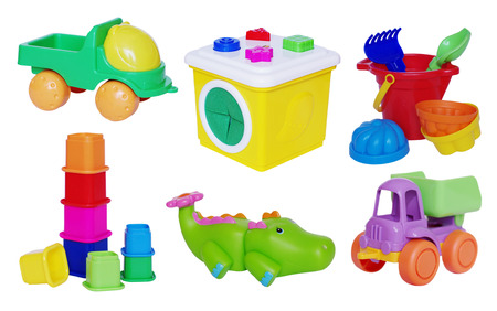 set of baby toys on white background photo