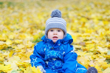 portrait of lovely baby boy age of 1 year outdoors in autumn photo