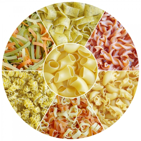 set of different sorts of pasta in circle photo